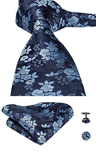 Fashion Neck Tie Set - CAOFENVOO Men's Blue Floral Silk Tie Hanky Cufflinks Necktie set Wedding Tie