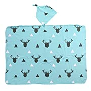 Mikrdoo Newborn Infant Baby Boy Girl Deer Swaddle Blanket +Hat Boy Coming Home Cotton Bath Towel (Blue)