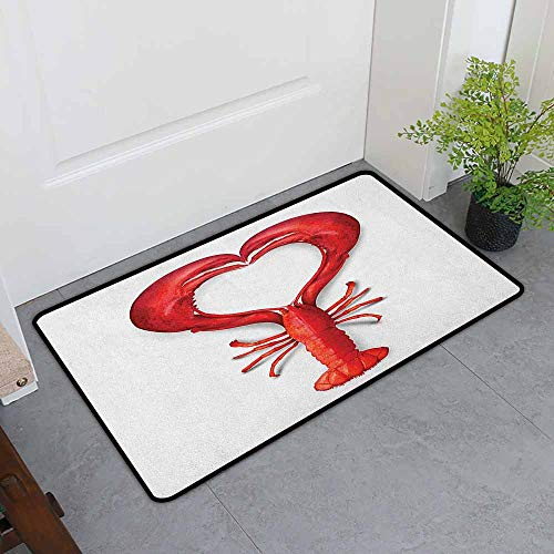 - ONECUTE Dog Doormat,Sea Animals A Boiled Lobster Shaped as A Heart Symbol Seafood Love Valentines Restaurant Menu Art,for Outdoor and Indoor,31