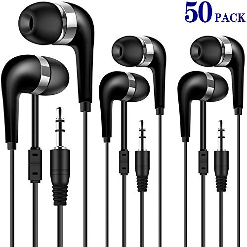 HONGZAN Bulk Earbuds 50 Pack for Classroom Kids, Wholesale Earbuds Headphones Earphones for Kids, Individually Bagged Perfect for School, Library, Computer Lab, Museums, Students and Adult 50Black