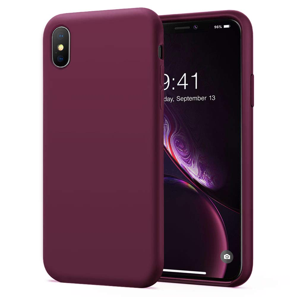 KUMEEK iPhone X Xs Case  Soft Silicone Gel Rubber Bumper Case Anti-Scratch Microfiber Lining Hard Shell Shockproof Full-Body Protective Case Cover for Apple iPhone X iPhone Xs-WineRed