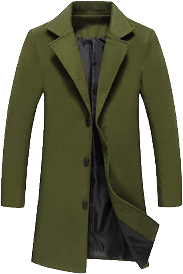 M/&S/&W Mens Business Winter Slim Single-Breasted Overcoat Long Trench Coat Jacket