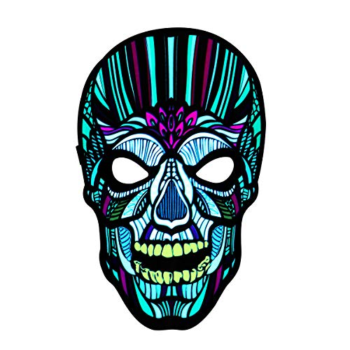 Halloween Mask Outline (YUNLIGHTS Halloween Mask Light Up Costume Mask Sound Reactive Flashing Mask LED Scary Skull Halloween Mask for Adults and)