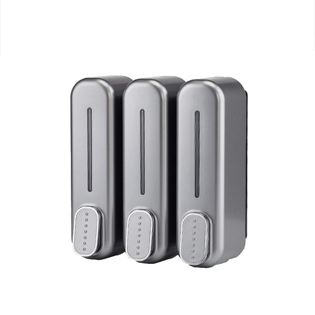 C.X.Z Three-Head Dispenser Emulsion Dispenser Wall-Mounted Shower Gel Shampoo Liquid Box Kitchen Bathroom Toilet Hand Sanitizer Dispenser ABS Plastic Gray