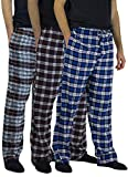 Real Essentials 3 Pack:Men's Cotton Super Soft Flannel Plaid Pajama Pants/Lounge Bottoms,Set 6-L