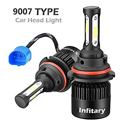 INFITARY 9007 Hi/Lo LED Headlight Bulbs Conversion Kit,All-in-One 72W 10000LM 6500K COB Chip High Low Dual Beam Super Bright Cool White Plug Play Fog Light Car Headlamp Replace LED Headlight Bulb 3Yrs: Automotive