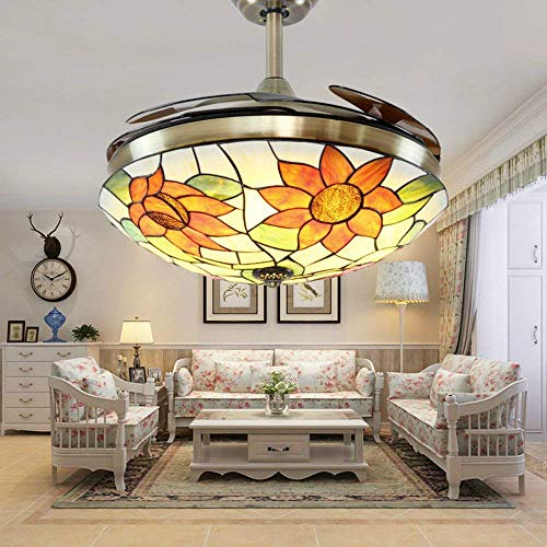 Huston Fan Modern Unique Fandelier Retractable Ceiling Fan Light with Flower Glass Lampshade Indoor Bedroom Remote Ceiling Lamp LED Three Color Change,Three Down Rod,Not Dimmable (42 -