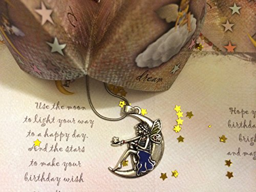Smiling Wisdom - Happy Birthday Moon Fairy Angel Gift Set - Nostalgic Origami Game - Cootie Catcher, Fortune Teller - Moon Angel Necklace, Gold Star Confetti, Birthday Card - Girls, -