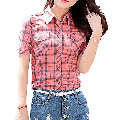 Coton wealsex Rouge Blouse Chemise Et Courtes T Femme Shirt Carreaux Manches Slim xOCq7v1Px