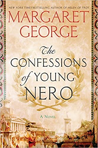 Book cover for The Confessions of Young Nero, shows a sepia toned image of buildings from Ancient Rome, with the book title encased in a laurel wreath.