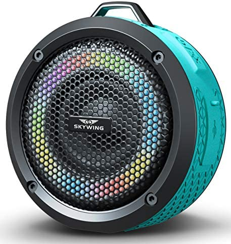 SKYWING Soundace S6 - Small Portable Speaker IPX7 Waterproof Shower Bluetooth Speaker with LED Lights 20H Playtime Perfect Mini Wireless Outdoor Speaker for Pool Beach Travel Camping Hiking BBQ Gift