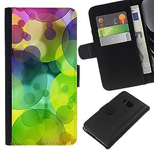 EJOY---La carpeta del tirón la caja de cuero de alta calidad de la PU Caso protector / HTC One M7 / --Patrón Colores Círculo verde lima
