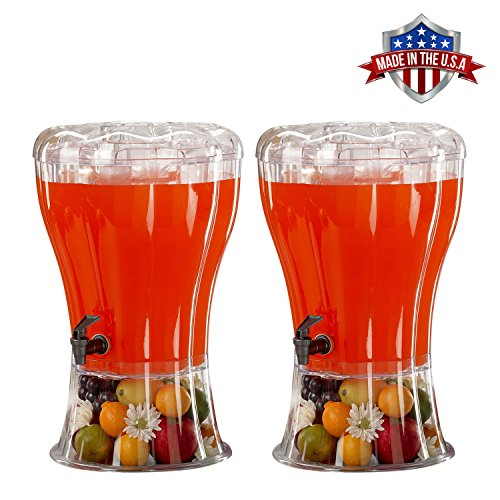 2 Pack Cold Beverage Drink Dispenser Unbreakable 3.5 Gallon BPA Free with Ice Cone, Parties, Weddings, Catering, Events ()