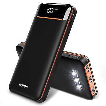 RLERON Batería Externa 25000mAh Alta Capacidad Powerbank, Cargador Portátil Pantalla LED con 3 Puertos USB de Alta Velocidad, Power Bank para ...