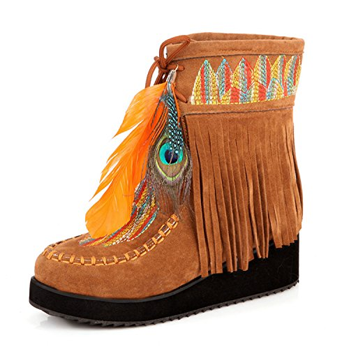 Retro Feather Yellow Size Jeff Tassels Shoes Tribble 34 Big Boots Fringe Flock Short Women Chunky Size Boots 43 Ankle 55YrnU