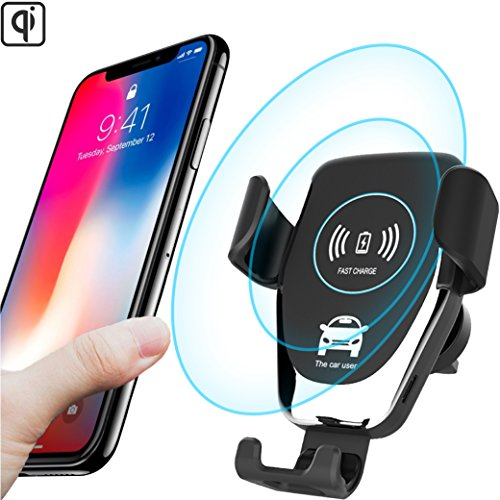 Fast Wireless Car Charger - Qi Wireless Charger Car Mount and Phone Holder for Car - 10W Wireless Charger for Samsung Galaxy S9/S9+/S8/S8+ and Apple iPhone X/8 and Qi Enabled Devices | Drive Safe by Axion