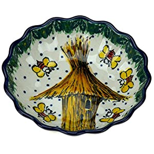 Ceramika Artystyczna Polish Hand Painted Small Fluted Dessert Bowl