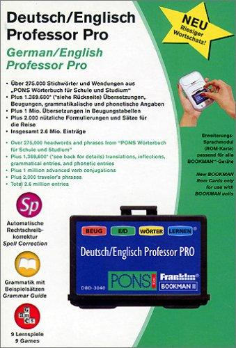 Franklin DBD 3040. Bookman 2 ROM-Karte. Deutsch-Englisch Professor Pro: Deutsch-Englisch Wörterbuch mit über 1.2 Mio Wörtern, Wortformen und Redewendungen