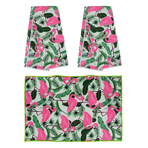 (Plum Nellie's Treasures Flamingo & Bamboo Leaves Kitchen Towels Set of 2 & Matching Dish Drying Pad 12