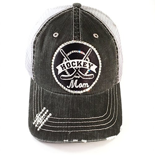 Cap Swarovski Cotton (Elivata Hockey Mom Baseball Hat for Women Swarovski Crystal Bling by)