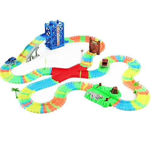 Glow-in-the-Dark Race Car Track Toy Set for 3 Years Old and Up (Glow In The Dark Race)