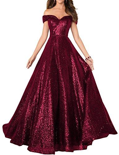 82dd8ffbc4f Home Brands DarlingU DarlingU Women s Sparkle Off-The-Shoulder Beaded  Evening Prom Dress Formal Celebrity Party Gowns Burgundy 8.   