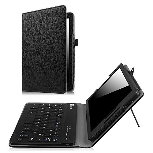 Fintie Verizon Ellipsis 8 HD Keyboard Case (2016 Release) - Slim Fit PU Leather Stand Cover with [All-ABS Hard Material] [Long Life Battery] Removable Wireless Bluetooth Keyboard, Black