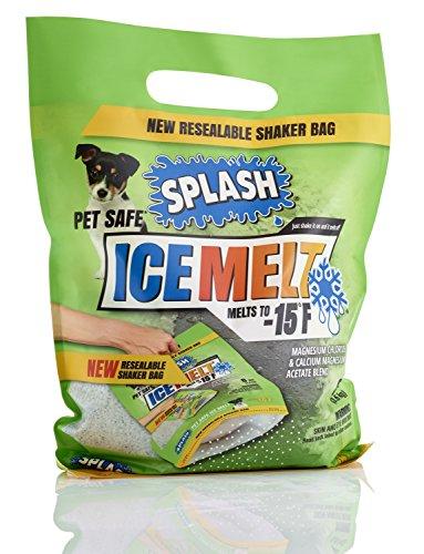 SPLASH Pet Safe ice melt resealable Shaker Bag, melts to -15F, 8lb, safe for environment, snow & ice salt, concrete safe
