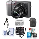 Adorama Panasonic Lumix DMC-ZS100 Digital Camera, 20.1MP, Silver - Bundle with 16GB Class 10 SDHC Card, Camera Case, Cleaning Kit, Memory Wallet, Sunpak FlexPod Pro, Software Package