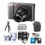 Panasonic Lumix DMC-ZS100 Digital Camera, 20.1MP, Silver - Bundle with 16GB Class 10 SDHC Card, Camera Case, Cleaning Kit, Memory Wallet, Sunpak FlexPod Pro, Software Package
