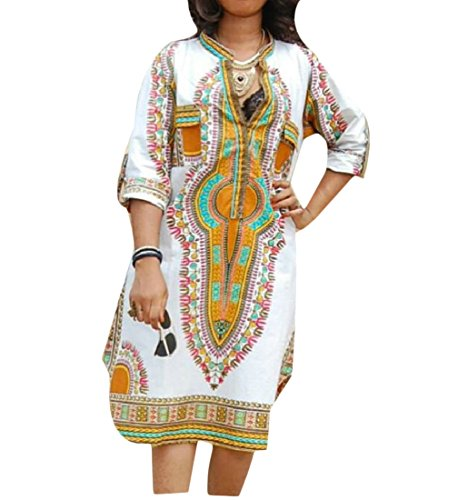 Women V Fit Dresses Retro Simple Coolred White Neck Floral Party Africa Printed Hq7Fdc7YXw