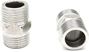 ZXHAO 2pcs Stainless Steel Hex Nipple Pipe Fitting 1/2 NPT Male to 1/2 NPT Male for Air, Liquid or Hydraulic Fitting