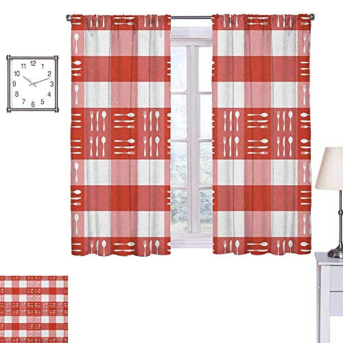 scenine CheckeredFashion curtainCutlery Silhouettes on Squares Dining Picnic Tile Spoons Forks KnivesPrinting insulationW63 xL72 Coral Dark Coral White
