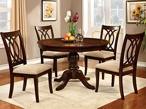 Attractive Brown Cherry Dining Table with Four Beige Upholstered Chairs
