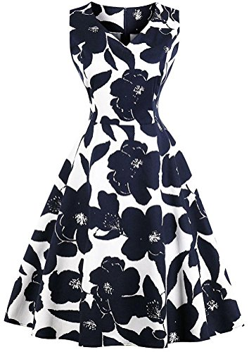 Blue Retro on Neck Large Midi White Women's Hollywood 1950s Dress Sleeveless Party Dark Style Swing Vintage Ayli Flower Scoop qTXxnwTZ