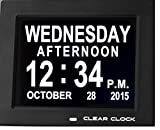 Clear Clock Digital Memory Loss Calendar Day Clock With Optional Day Cycle Mode Perfect For Seniors + Impaired Vision (Black)