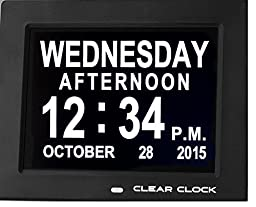Clear Clock Digital Memory Loss Calendar Day Clock With Optional Day Cycle Mode Perfect For Seniors (Black)