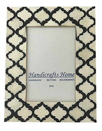 Picture Photo Frame Moorish Damask Moroccan Arts Inspired Handmade Naturals Bone Frames Photo Size 4×6  5X7 Inches (4X6, Black  White)