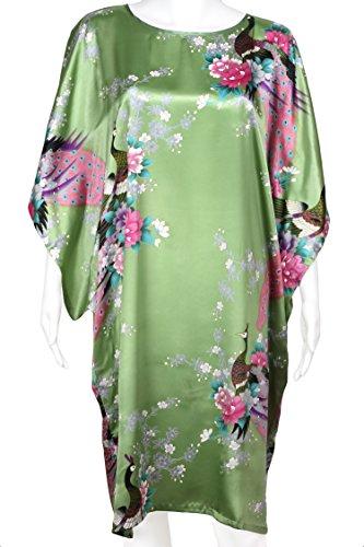 Diseño de flores retro de para mujer de pavo real y - raso - de novia Chemsie noche camiseta Verde
