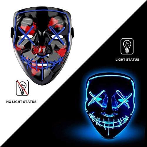 Amazon.com: Máscara de Halloween con luces LED, máscara de ...