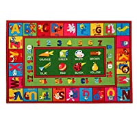 Booooom Jackson Collection ABC Fun Kids Rugs, Numbers and Animals Educational Classroom Rug for Playroom,Classroom and Kidroom,Safety and Fun Alphabet Rug Learning Carpet for Boys and Girls