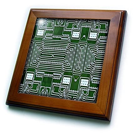 8 by 8 3dRose ft/_204250/_1 Print of Circuit Board Close Up Framed Tile