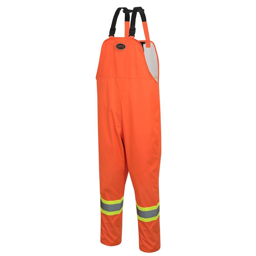 Pioneer V1082350-L Loose Fit Waterproof Work Bib Pants, Tear-Resistant Fully Adjustable, Men, Hi-Vis Orange , L
