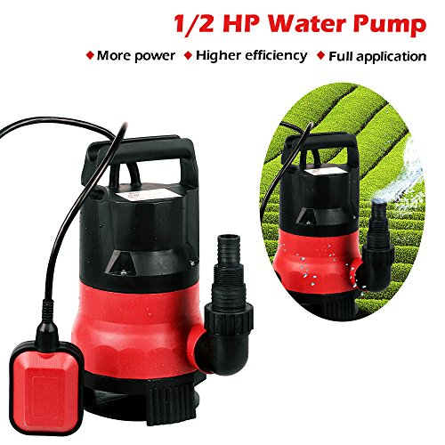 Submersible Sump Pump,Voluker 1/2 HP Water pump Clean/Dirty Water 15ft Cable and Float Switch (Red)