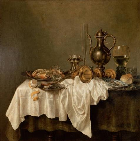 Oil Painting 'Breakfast With A Lobster,1648 By Willem Claesz Heda' 8 x 8 inch / 20 x 20 cm , on High Definition HD canvas prints is for Gifts And Bath Room, Laundry Room And Nursery decor, wall (Alphabet Wastebasket)