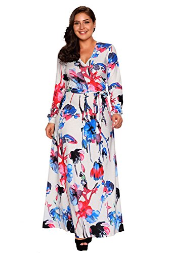 Women Chic Wrap V-Neck Long Sleeve Sash Tie Floral Print Plus Size Long Maxi Boho Dress