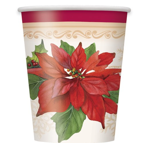 9oz Poinsettia Joy Holiday Paper Cups, 8ct