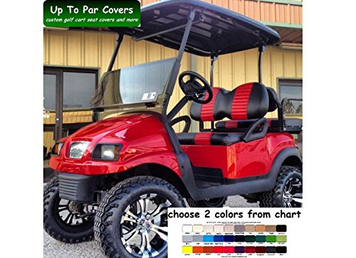 Club Car Precedent Custom Golf Cart Front Seat Cover Set PLUS Rear Seat Cover Set Combo - TWO STRIPE STAPLE ON by Up To Par Covers