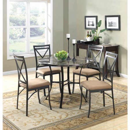 Modern Family Kitchen 5 Piece Dining Table Set for 4 - Black Patio Counter Height Marble Top Table 4 Seats for Living Room - Home Decor Furniture, BONUS E-book