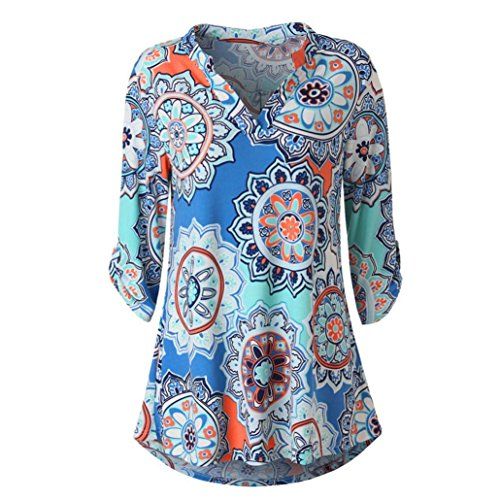 (KIKOY Womens V-Neck 3/4 Sleeve Vintage Floral Print Casual Soft Long Tunic Tops)